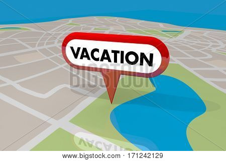 Vacation Location Map Pin Holiday Spot Travel Trip Destination 3d Illustration