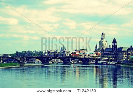 skyline of Dresden with Elbe River saxony germany