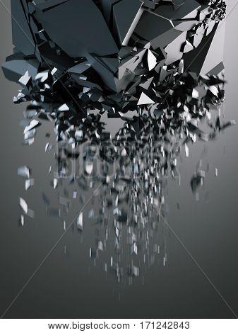 Destruction of black cube on dark background. 3d rendering
