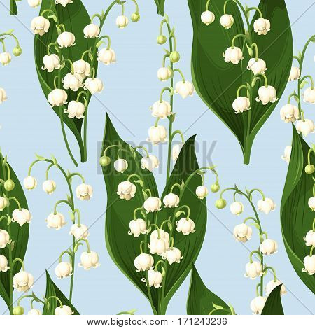 Lily of the valley vector seamless background