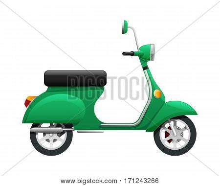 Transport. Illustration of isolated green scooter. Fast mean of transportation with one headlight in front of it. Silver discus in black tire. Two-wheeled motorbike in simple cartoon design. Vector