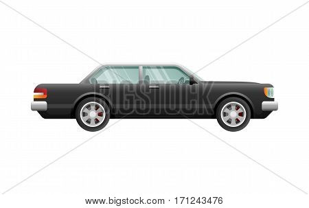 Transportation. Picture of isolated classical black car with four doors. Fast four-wheeled mean of transportation in simple cartoon design. Front and back headlights. Four silver discus. Vector