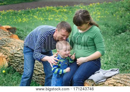 pregnant wife with her husband and young son at a picnic in the park
