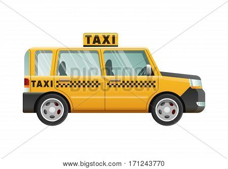 Yellow taxi cab with checker on roof. City transport. Fast mean of transportation. Urban emergency vehicle. Clear glasses. Little black squares on automobile. Taxi in cartoon style. Side view. Vector