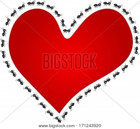 Scalable vectorial image representing a ants around red heart, isolated on white.