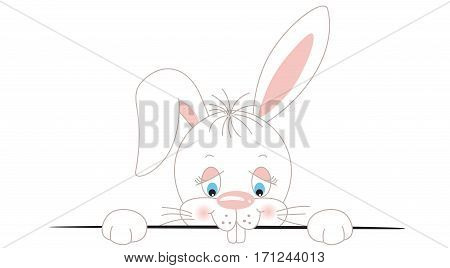 Scalable vectorial image representing a curious white bunny peeking out, isolated on white.