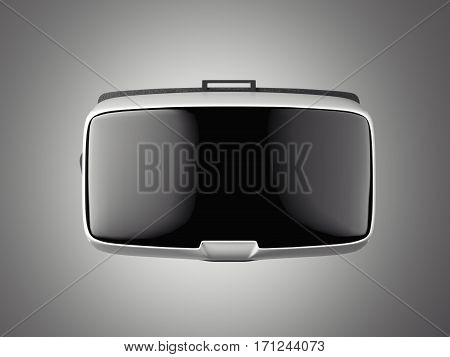 VR virtual reality headset on white floor. Front view. 3d rendering