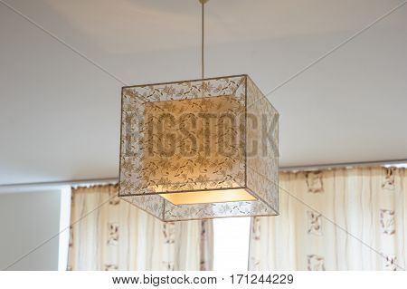 beautiful design decorative chandelier in the room