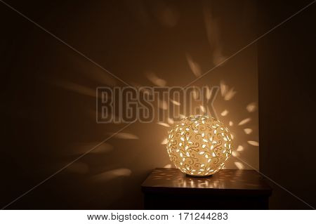 yellow Round table lamp night light included