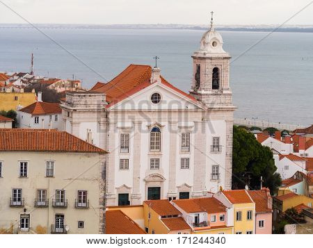 Igreja de Santo Estevao in Lisbon Portugal seen from Portas do Sol.