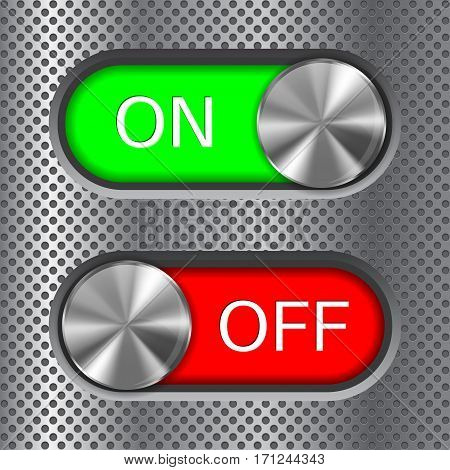 Toggle switch. On and Off. On metal perforated background. Vector illustration