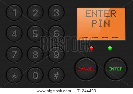 Pin enter display with number buttons. Black plastic background. Vector illustration