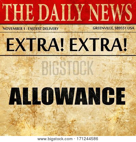 allowance, article text in newspaper