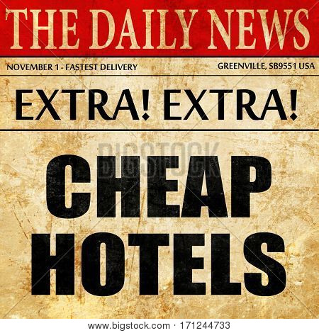 cheap hotels, article text in newspaper