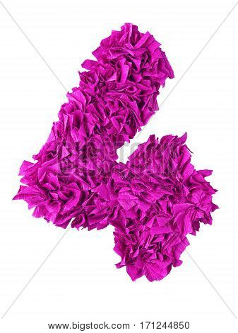 Four. Handmade number 4 from magenta color crepe paper isolated on white background. Set of pink numbers from scraps of paper