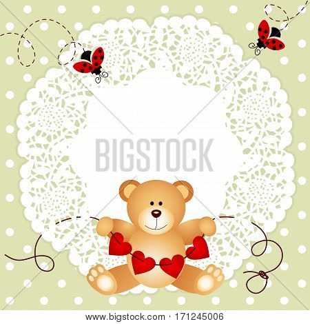Scalable vectorial image representing a teddy bear holding hearts background.