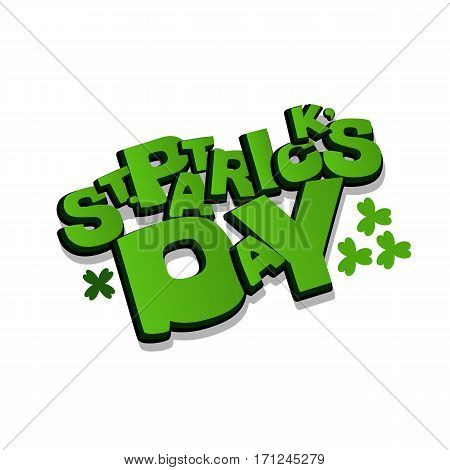 Lettering funny comic font St Patrick Day. Vector illustration background. Comics book balloon. Bubble icon comic speech phrase. Comic text sound effects. Cartoon tag expression.