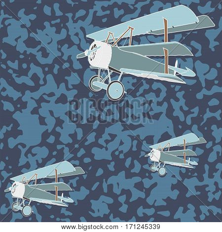 Seamless vintage background with colorful airplanes. Isolated vector illustration.