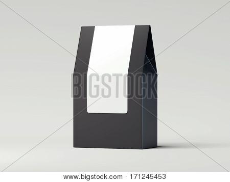 Black packaging recycled paper bag on white floor. 3d rendering
