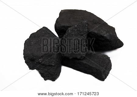 pile black coal isolated on white background.