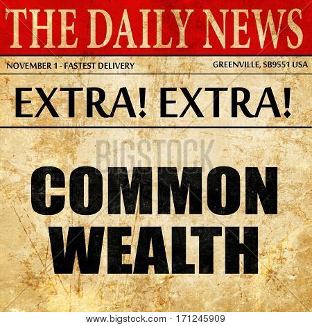 common wealth, article text in newspaper