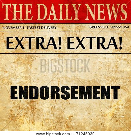 endorsement, article text in newspaper