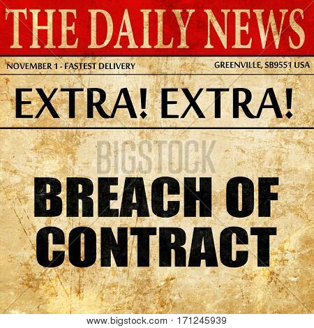 breach of contract, article text in newspaper