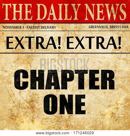 chapter one, article text in newspaper