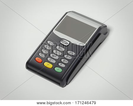 POS Portable Credit Card Machine isolated on white floor. 3d rendering