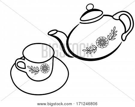 jug and a cup of tea or coffee on a white background