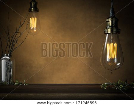 Two glowing vintage bulbs and empty table in dark interior. 3d rendering