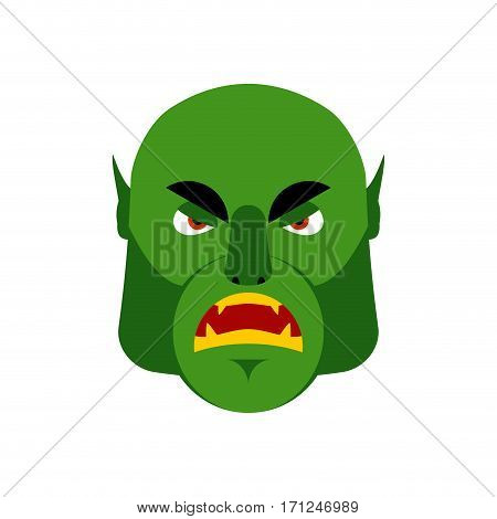 Ogre Angry Emoji. Goblin Evil Emotion Isolated. Green Monster Face