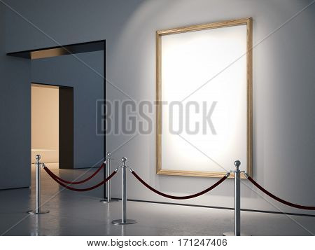Gallery with blank golden frame and fance. 3d rendering