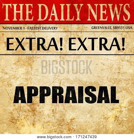 appraisal, article text in newspaper