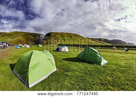 camping near famous Skogarfoss waterfall in southern Iceland. treking in Iceland. Travel and landscape photography concept