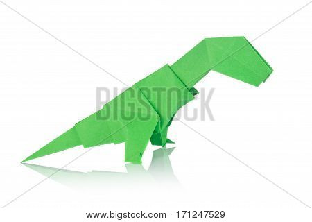 Green dinosaur Rex of origami. Isolated on white background