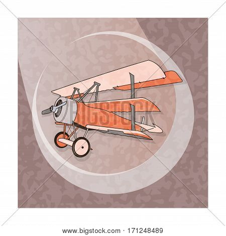 Biplane from World War with green coating. Model aircraft propeller with two wings. Old retro aircraft designed   for poster printing. Beautifully and realistically drawn vector flying biplane.
