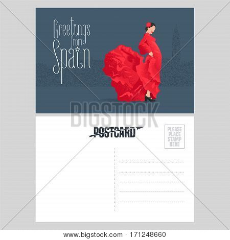 Flamenco dancer in red dress in visit Spain concept vector postcard template. Double sided with text field for greeting