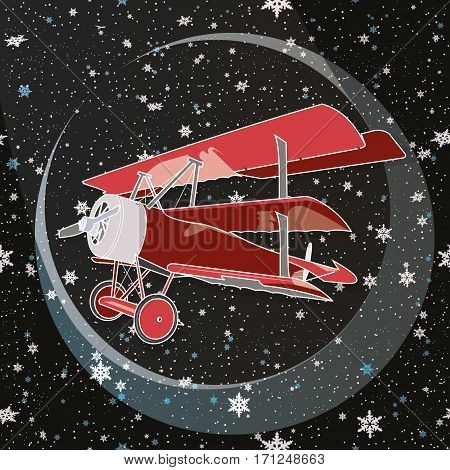 Christmas Snowflakes Background. Brightly colored retro classic biplane in flight. Design with biplane and   snowflakes.