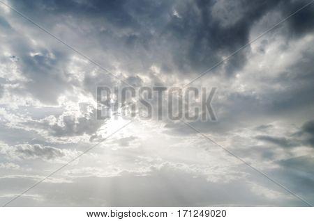 Dark cold  thunderstorm sky background close up