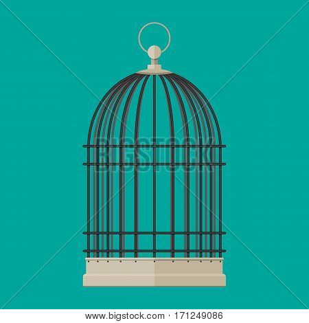 Pet bird cylindrical metal cage. Vector illustration in flat style