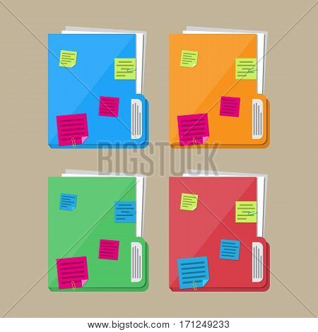Documents folder with paper sheets and sticky notes. Vector illustration in flat style