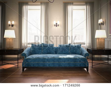Classic living room with blue sofa and wooden floor. 3d rendering