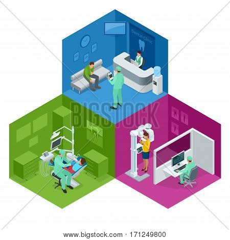 Isometric Modern dental practice. Dental chair and other accessories used by dentists in blue, medic, reception, detail dental panoramic radiograph equipment . Flat vector concept.