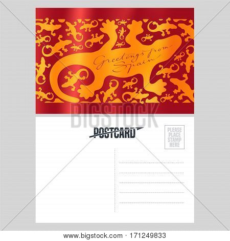 Antonio Gaudi lizard gecko vector postcard template. Double sided with text field for greeting. Spanish flag with pattern design element