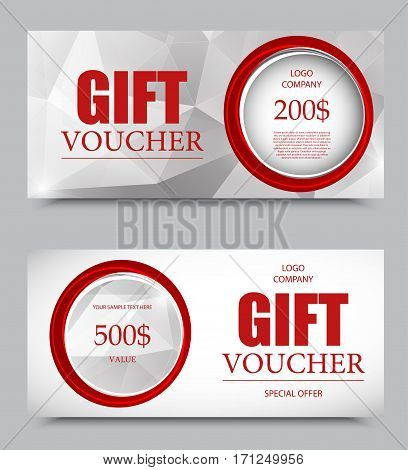 Gift company voucher template on five and two hundred dollars with circles and gray polygonal geometric pattern. Vector illustration