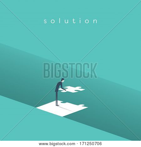 Businessman building bridge over gap with jigsaw puzzle as a symbol of business solution concept. Eps10 vector illustration.