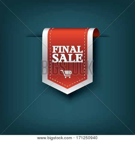 Final sale red ribbon vector tag icon for product promotion and shopping. Bookmark 3d design with realistic shadows. Eps10 vector illustration.