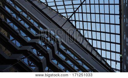 beautiful skylight windows in lobby of building
