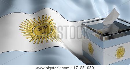 Ballot Box On Argentina Flag Background, 3D Illustration